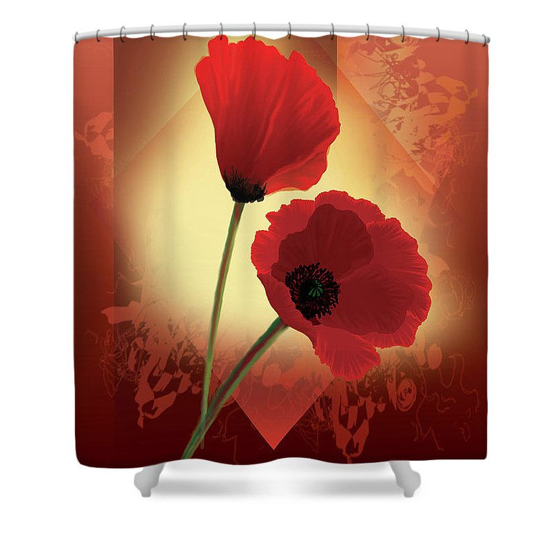 Painting By Gina Femrite Shower Curtain featuring the painting Contemporary Wild Poppies by Regina Femrite