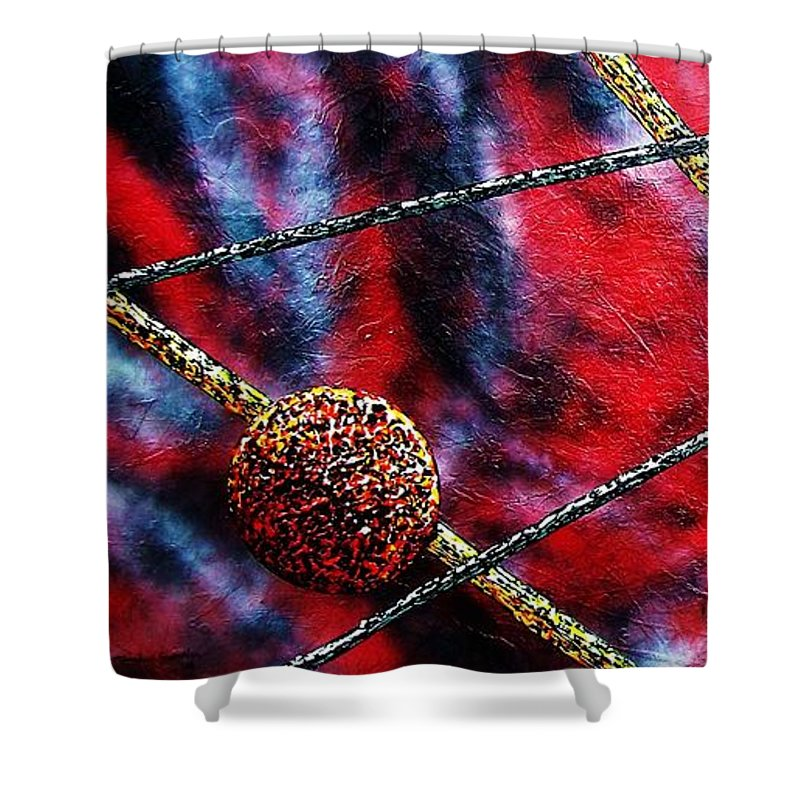Abstract Shower Curtain featuring the painting Continuum Iv Red Sky by Micah Guenther