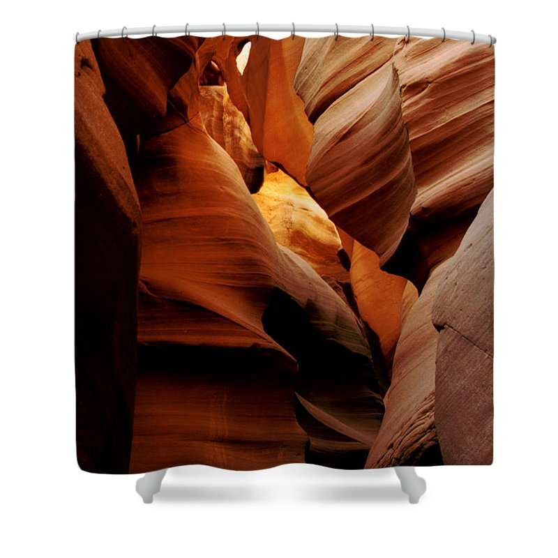 Antelope Canyon Shower Curtain featuring the photograph Convolusions by Kathy McClure