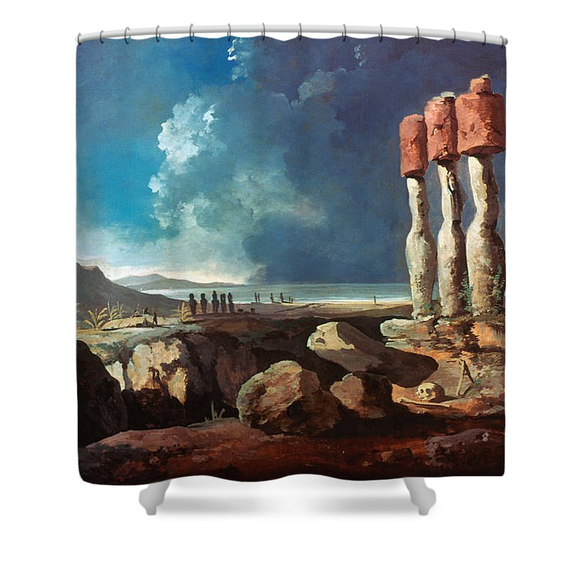 1774 Shower Curtain featuring the photograph Cook: Easter Island, 1774 by Granger