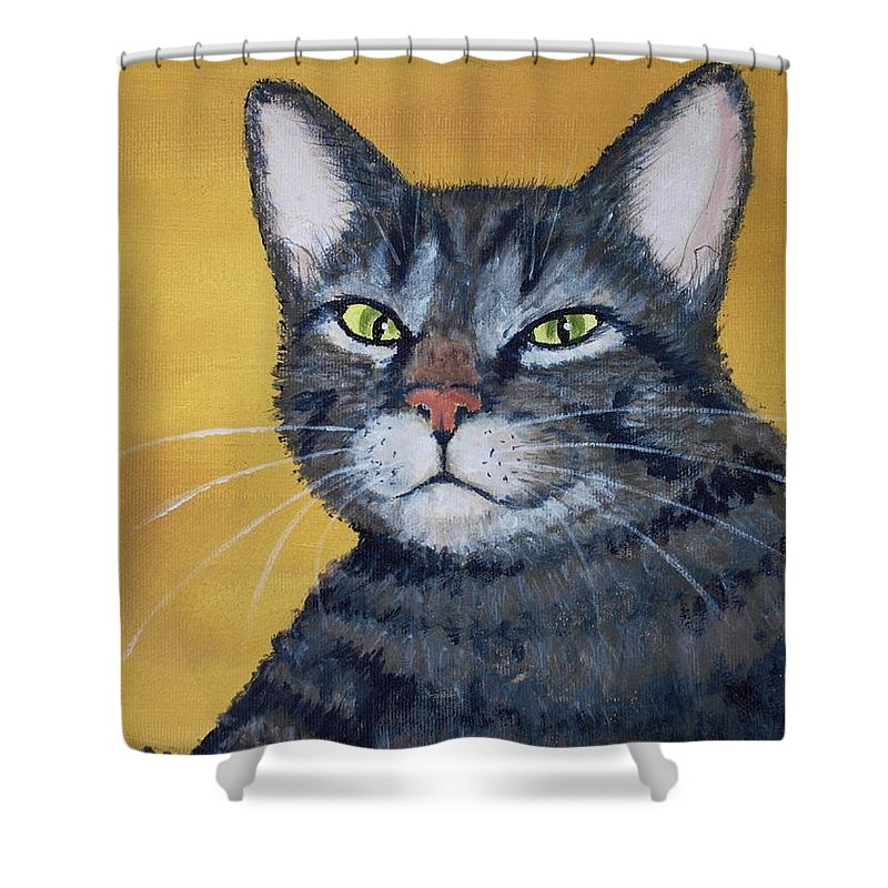 Malakhova Shower Curtain featuring the painting Cool Cat by Anastasiya Malakhova