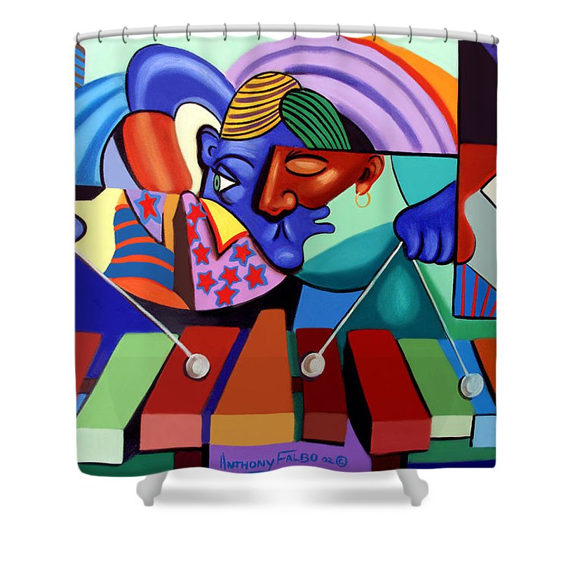 Cool Vibes Shower Curtain featuring the painting Cool Vibes by Anthony Falbo