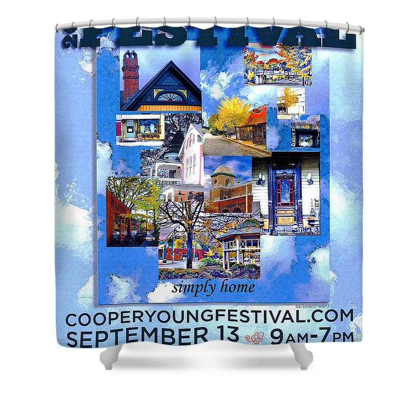 Cooper Young Shower Curtain featuring the digital art Cooper Young Festival Poster 2008 by Lizi Beard-Ward