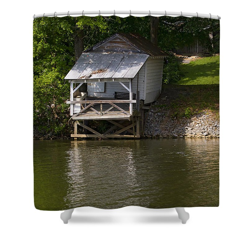 Coosa River Shower Curtain featuring the photograph Coosa River Fishing Hut  #9548 by J L Woody Wooden