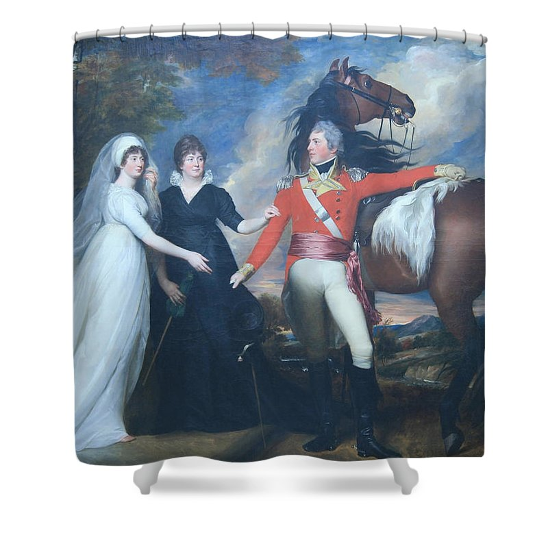 Colonel William Fitch And His Sisters Sarah And Ann Fitch Shower Curtain featuring the photograph Copley's Colonel William Fitch And His Sisters Sarah And Ann Fitch by Cora Wandel