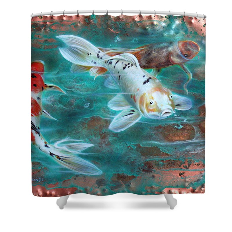 Copper Shower Curtain featuring the painting Copper Koi by Sandi Baker