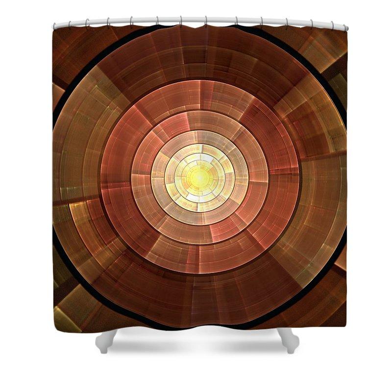 Malakhova Shower Curtain featuring the digital art Copper Shield by Anastasiya Malakhova