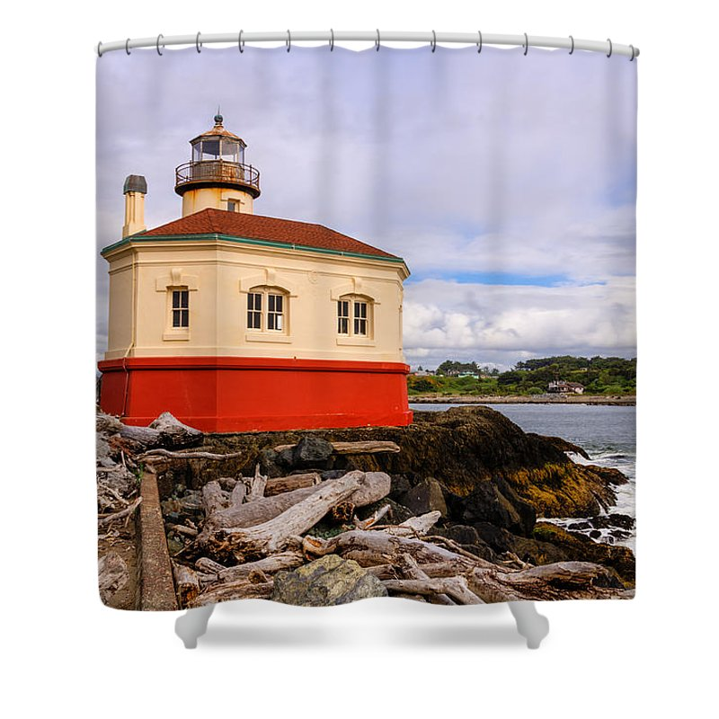 Bandon Shower Curtain featuring the photograph Coquille River Lighthouse by John Trax