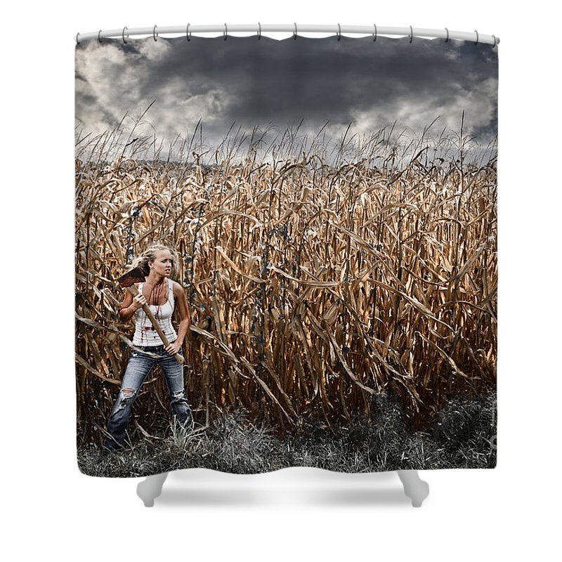 Axe Shower Curtain Featuring The Photograph Corn Field Horror By Jt  PhotoDesign