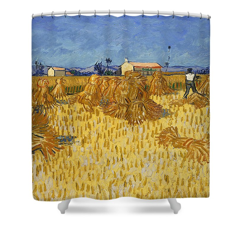 Corn Harvest In Provence Shower Curtain featuring the digital art Corn Harvest In Provence by Georgia Fowler