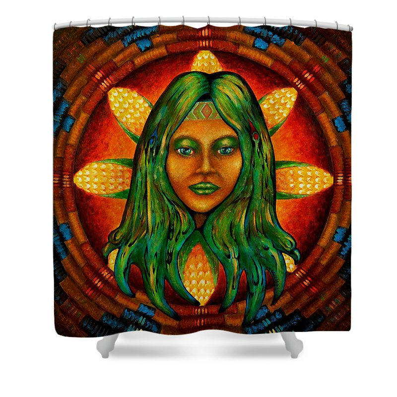 Native American Shower Curtain featuring the painting Corn Maiden by Kevin Chasing Wolf Hutchins