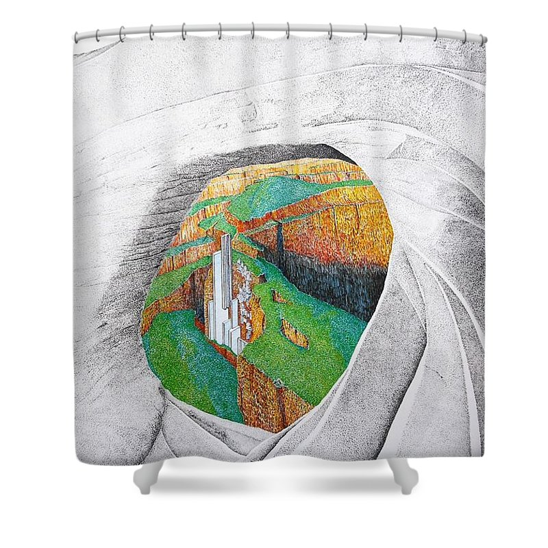 Rocks Shower Curtain featuring the painting Cornered Stones by A Robert Malcom