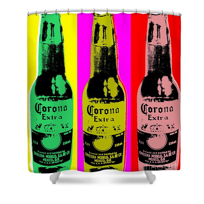 Corona Shower Curtain Featuring The Digital Art Beer By Jean Luc Comperat