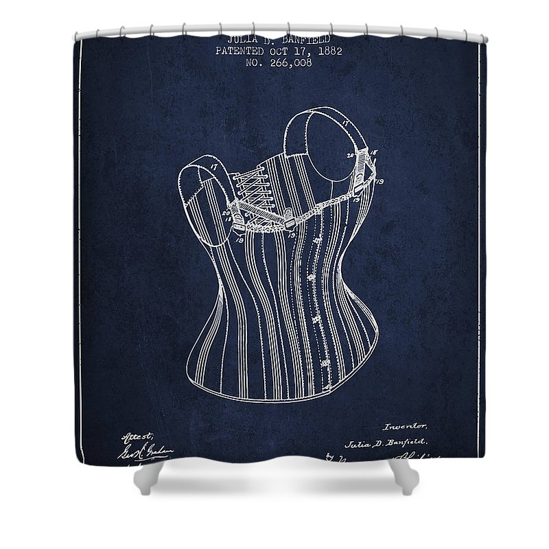 Corset Shower Curtain featuring the digital art Corset Patent From 1882 - Navy Blue by Aged Pixel