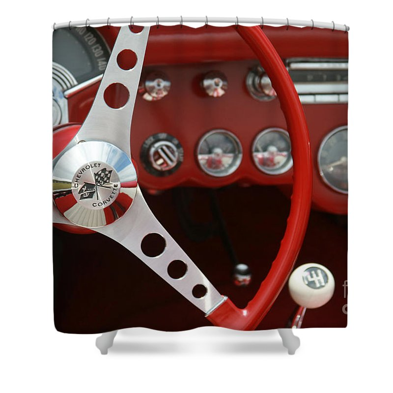 Corvette Shower Curtain featuring the photograph Corvette Classic Red by Sharon Mau