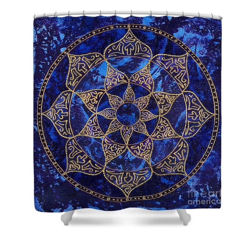 Mandala Shower Curtain featuring the painting Cosmic Blue Lotus by Charlotte Backman
