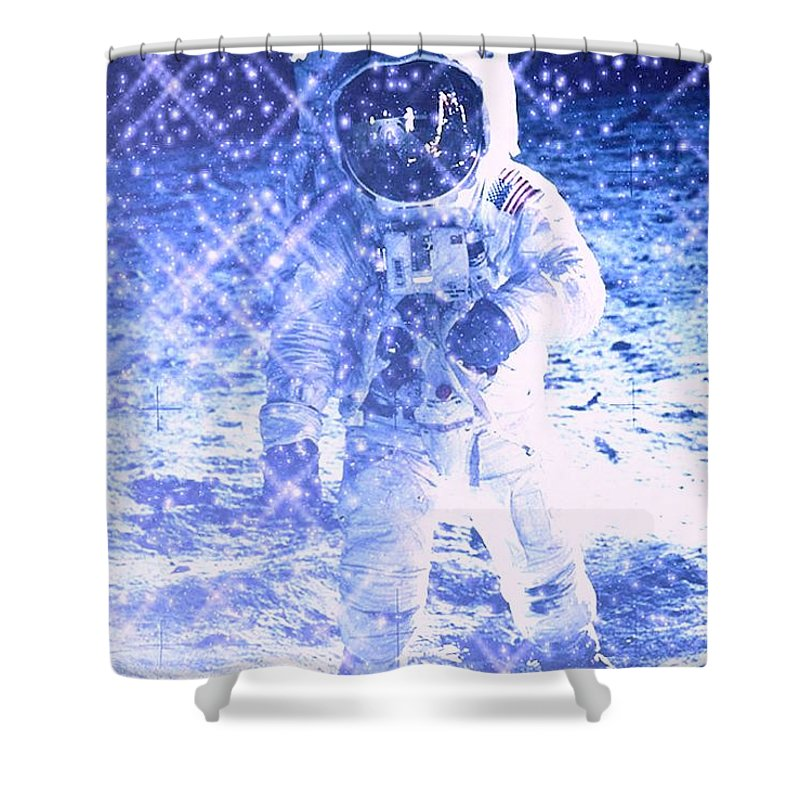Astronaut Shower Curtain featuring the digital art Cosmic Wonders by Drew Goehring