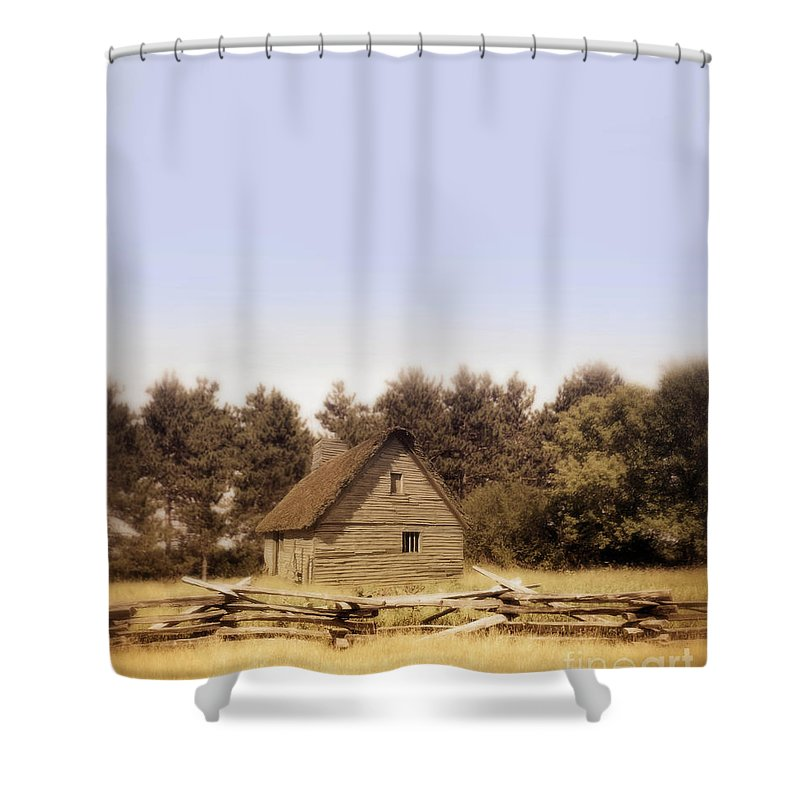 Cottage Shower Curtain featuring the photograph Cottage And Splitrail Fence by Jill Battaglia