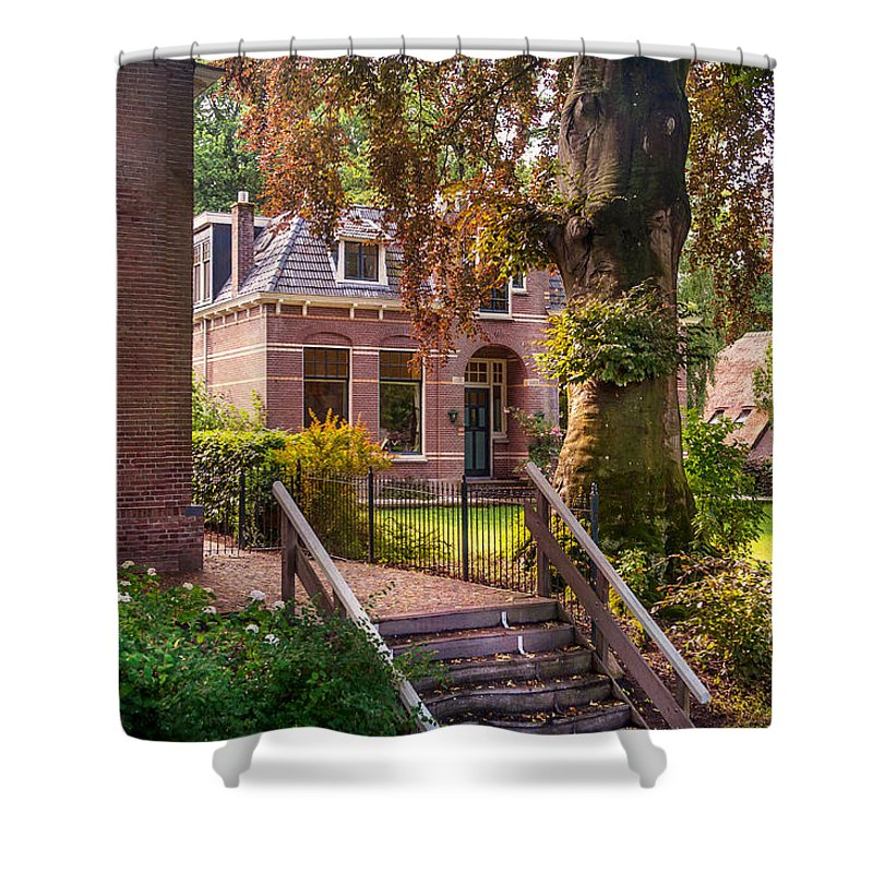 Netherlands Shower Curtain featuring the photograph Cottage At The Church In Giethoorn. Netherlands by Jenny Rainbow
