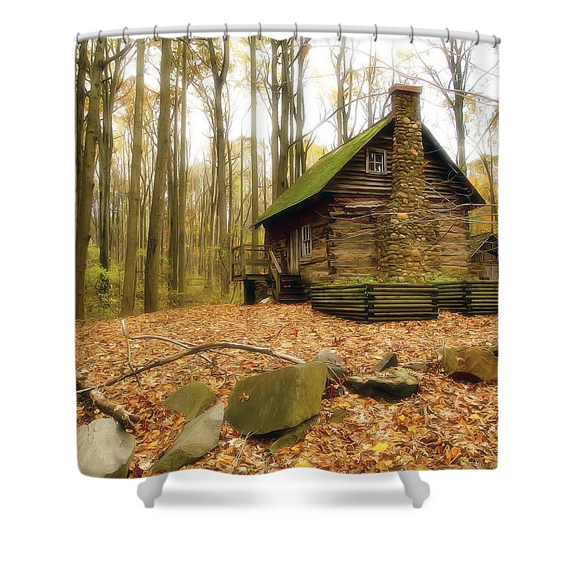 Autumn Shower Curtain featuring the photograph Cottage by Edward Kreis
