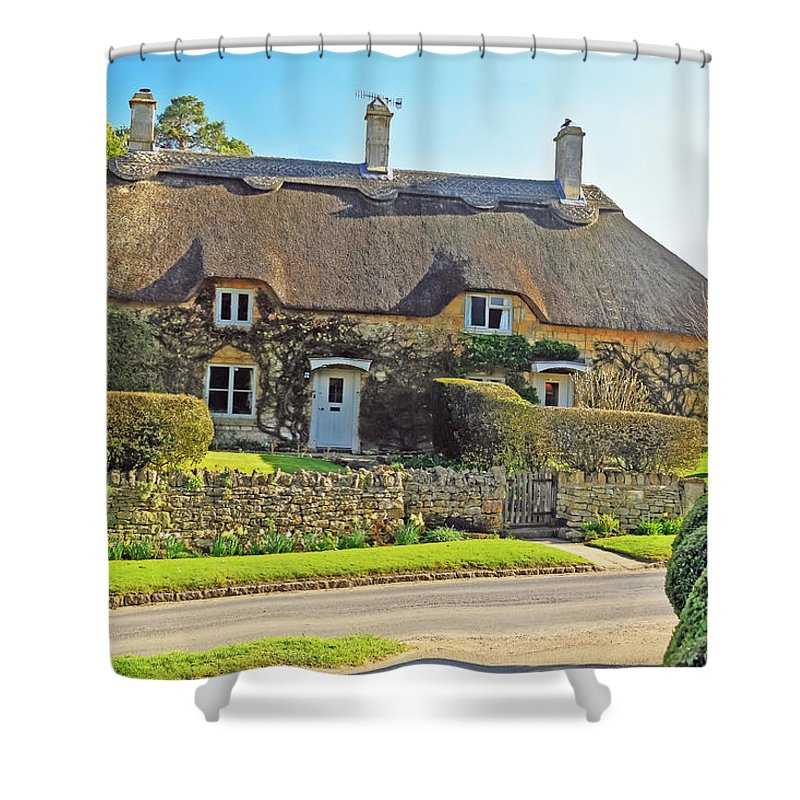 Travel Shower Curtain featuring the photograph Cottage Of The Cotswolds by Elvis Vaughn