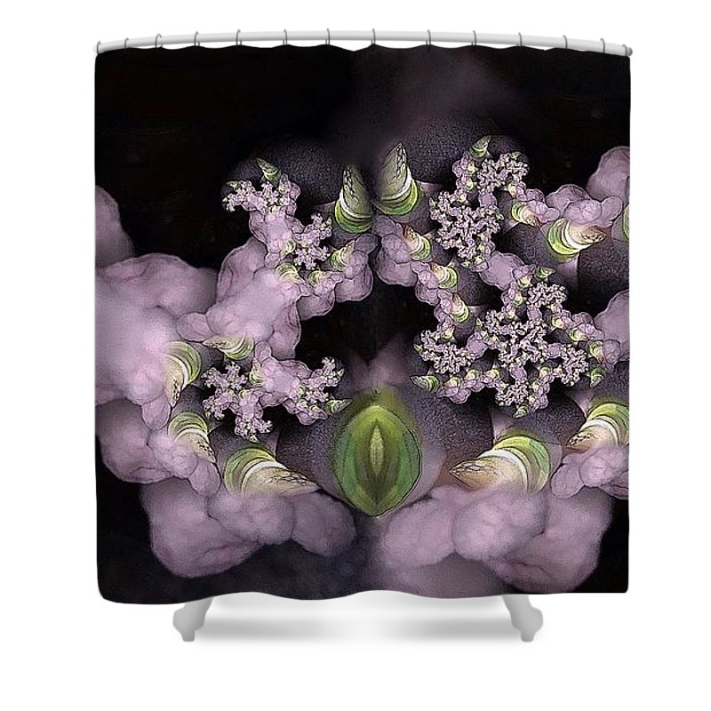 Collage Shower Curtain featuring the digital art Cotten Tail by Ron Bissett