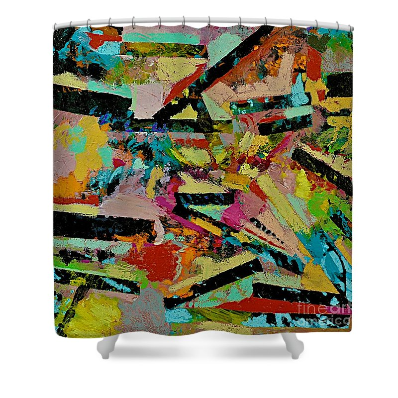 Landscape Shower Curtain featuring the painting Cotton Crystal by Allan P Friedlander