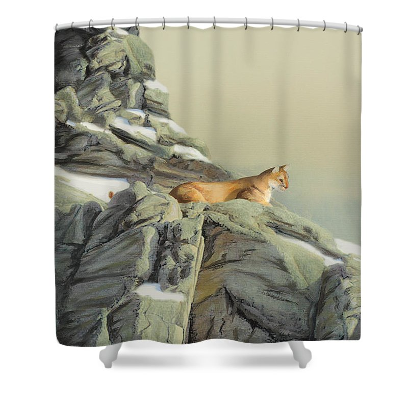 Cougar Shower Curtain featuring the painting Cougar Perch by Jane Girardot