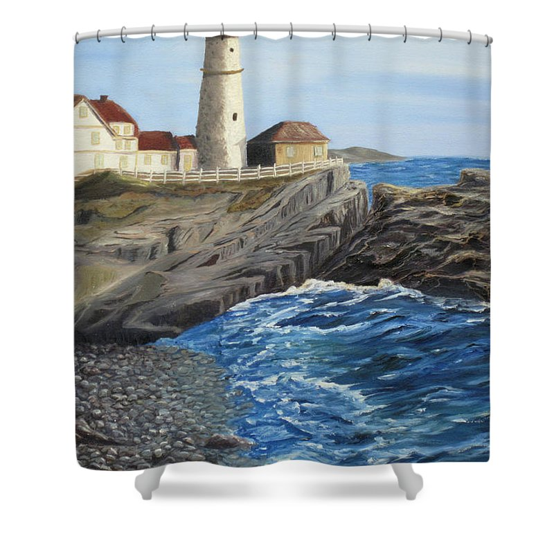 Seascape Shower Curtain featuring the painting Could Be Portland by Barbara McDevitt