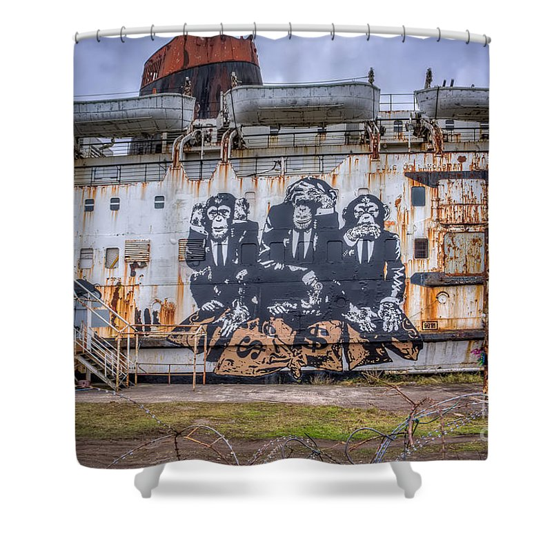 Abandoned Shower Curtain featuring the photograph Council Of Monkeys by Adrian Evans