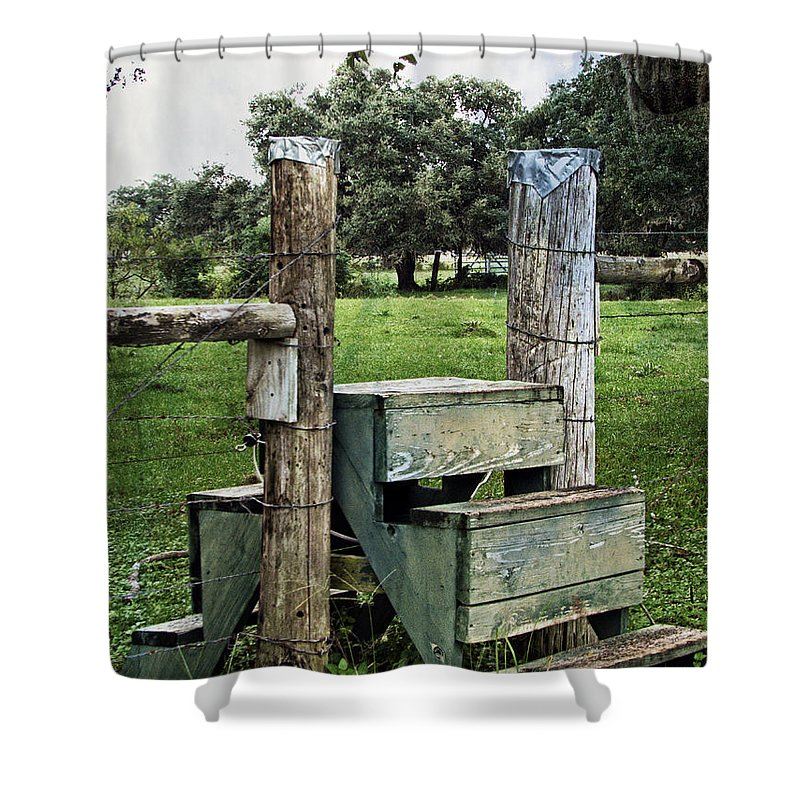 Cattle Fence Crossing Shower Curtain featuring the photograph Country Farm Fence Stile Crossing by Ella Kaye Dickey