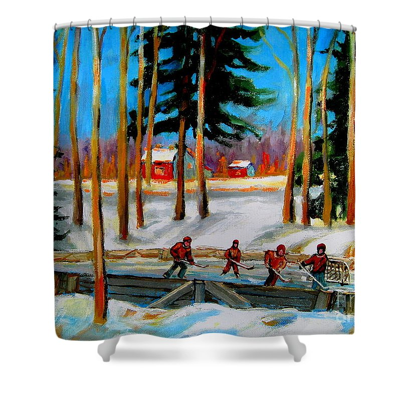 Country Hockey Rink Shower Curtain featuring the painting Country Hockey Rink by Carole Spandau
