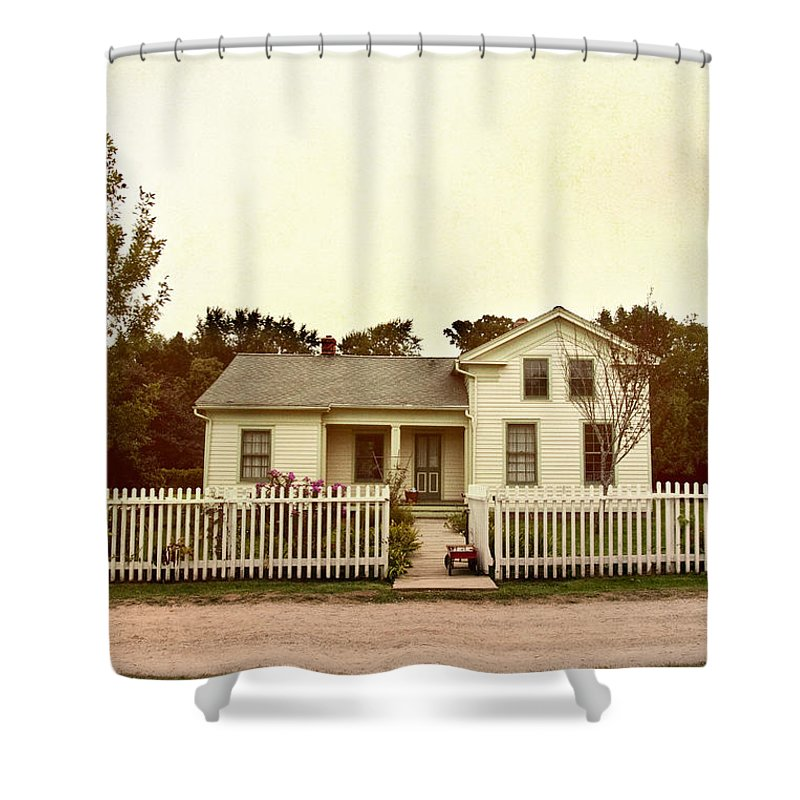 Home; House; Old; Farmhouse; Quaint; Little; Cute; Grass; Green; White; Entrance; Sweet; Rural; Architecture; Trees; Fence; White Picket Fence; Lawn; Property; Yard; Wagon; Flowers; Plants; Sunrise; Sunset; Road; Path; Street; Dirt; Open; Gate Shower Curtain featuring the photograph Country Home by Margie Hurwich