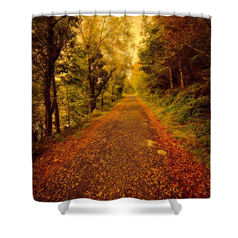 Autumn Shower Curtain featuring the photograph Country Lane V2 by Adrian Evans
