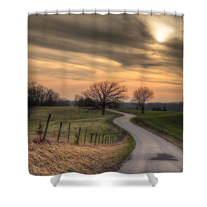 2014 Shower Curtain featuring the photograph Country Road At Sunset by Larry Braun