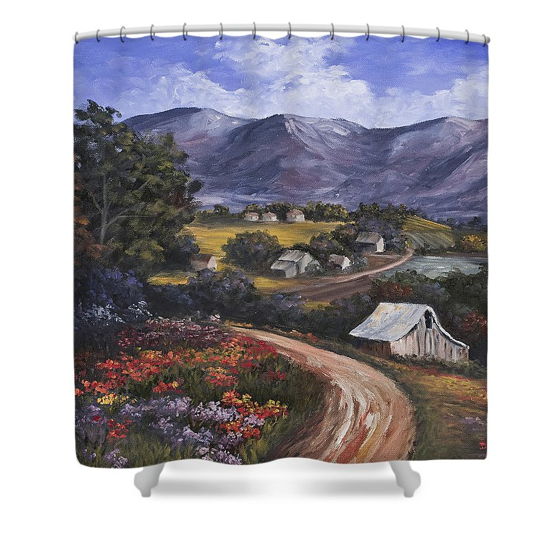 Landscape Shower Curtain featuring the painting Country Road by Darice Machel McGuire