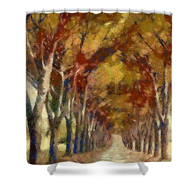 Landscapes Shower Curtain featuring the painting Country Road In Autumn by Dragica Micki Fortuna