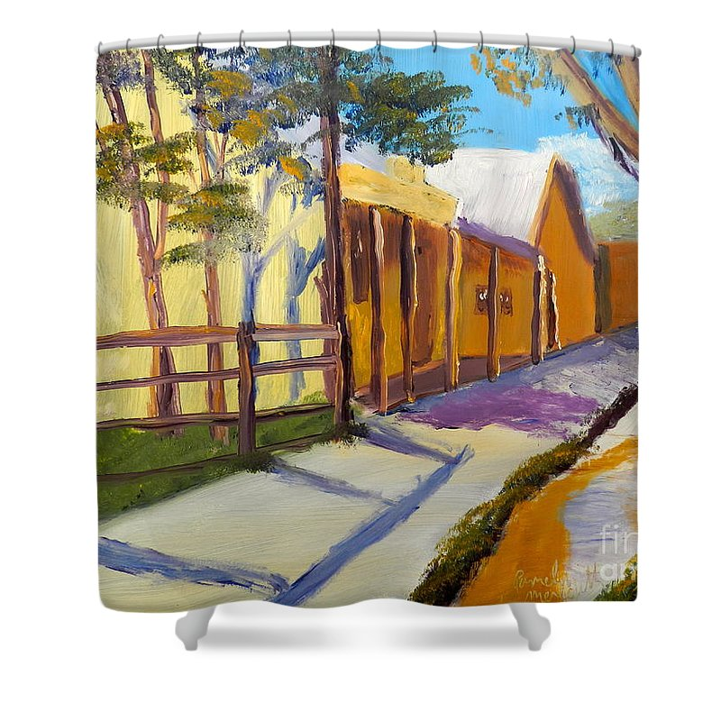 Impressionism Shower Curtain featuring the painting Country Village by Pamela Meredith