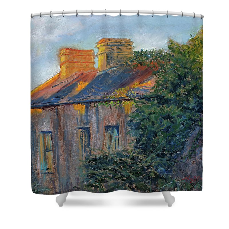 Irish Cottage Shower Curtain featuring the painting County Clare Late Afternoon by Mary Benke