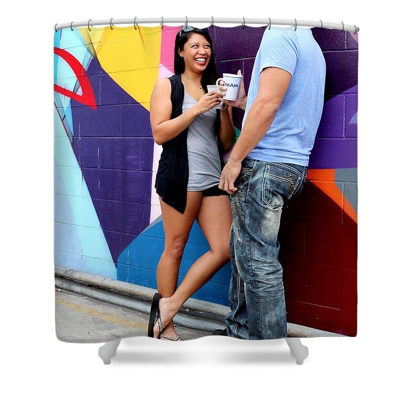 Couple Shower Curtain featuring the photograph Couple Talking by Henrik Lehnerer