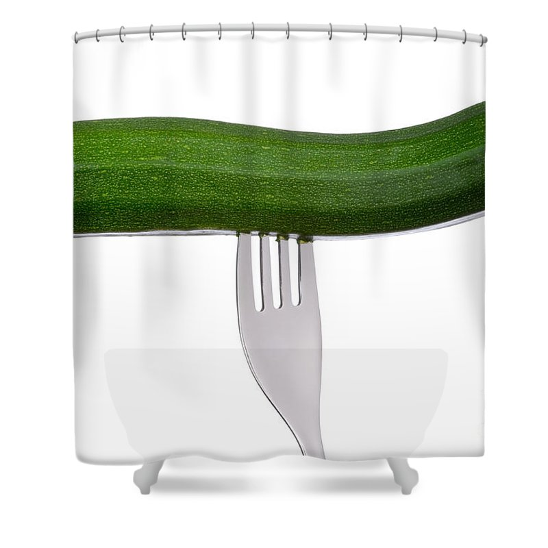 Courgette Shower Curtain featuring the photograph Courgette Or Zucchini On White by Lee Avison