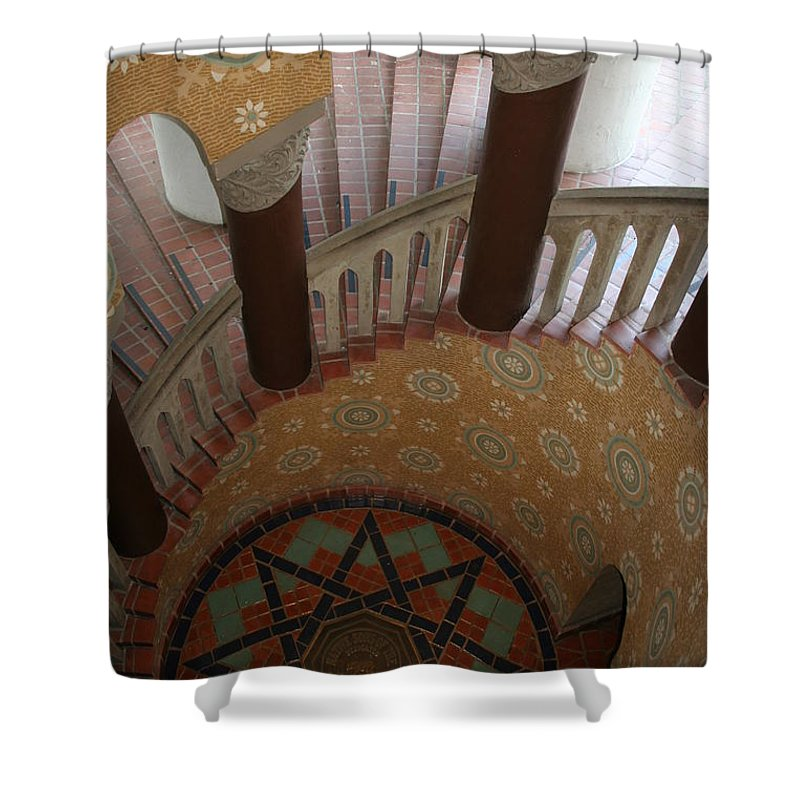 Courthouse Shower Curtain featuring the photograph Stairway Courthouse Santa Barbara by Christiane Schulze Art And Photography