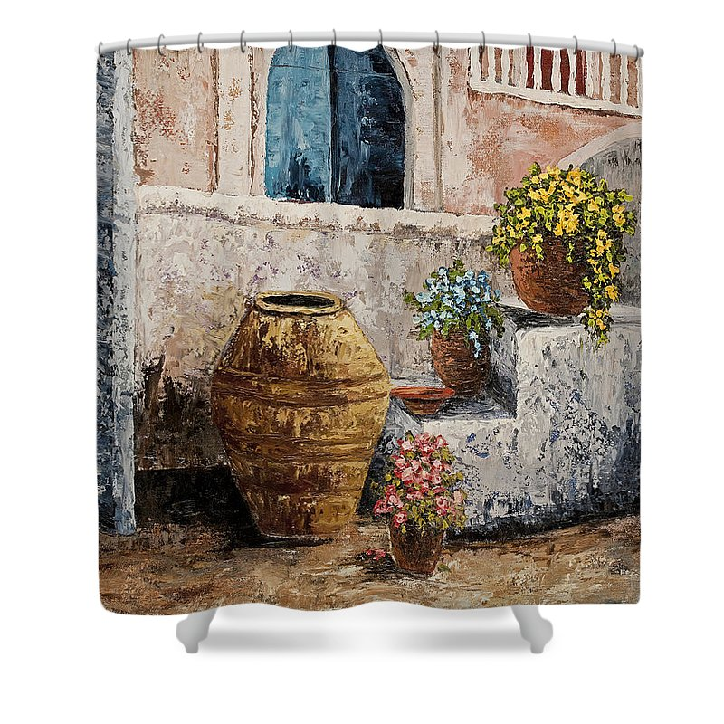 Courtyard Shower Curtain featuring the painting Courtyard 2 by Darice Machel McGuire