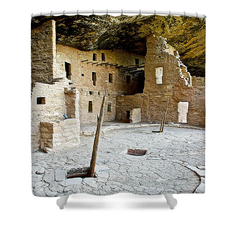 Courtyard Of Spruce Tree House On Chapin Mesa In Mesa Verde National Park Shower Curtain featuring the photograph Courtyard Of Spruce Tree House On Chapin Mesa In Mesa Verde National Park-colorado by Ruth Hager