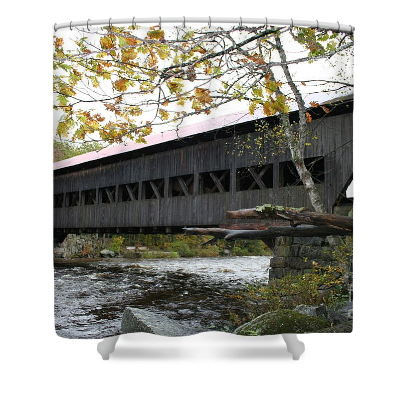 Covered Bridge Shower Curtain featuring the photograph Covered Bridge Albany by Christiane Schulze Art And Photography