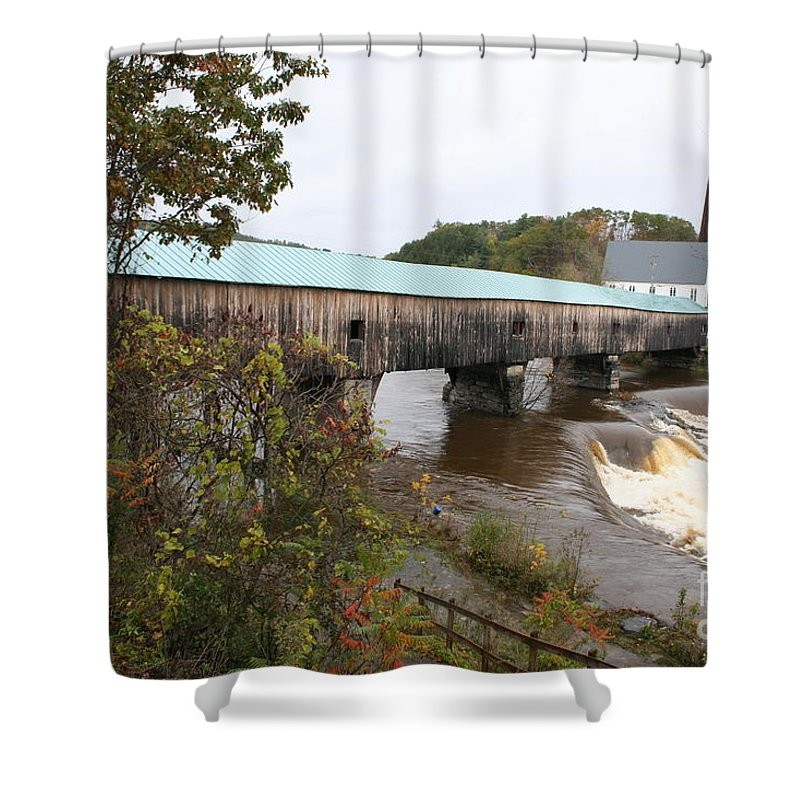 Covered Bridge Shower Curtain featuring the photograph Covered Bridge Bath by Christiane Schulze Art And Photography