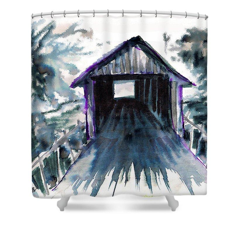 Old South Shower Curtain featuring the digital art Covered Bridge by Seth Weaver