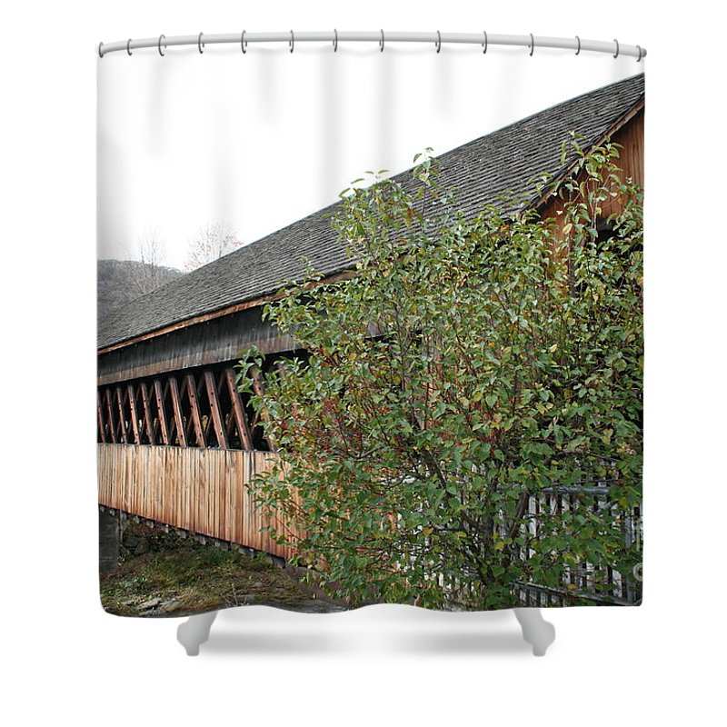 Covered Bridge Shower Curtain featuring the photograph Covered Bridge - Woodstock - Vermont by Christiane Schulze Art And Photography