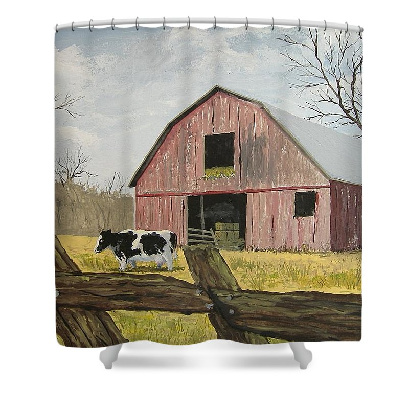 Barn Shower Curtain Featuring The Painting Cow And By Norm Starks