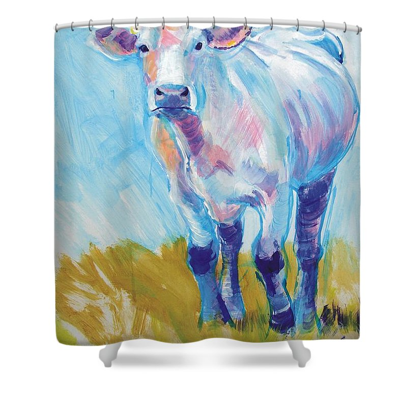 South Devon Shower Curtain featuring the painting Cow Painting by Mike Jory
